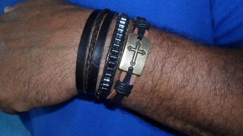pulseira masculina de couro cruz com hematita