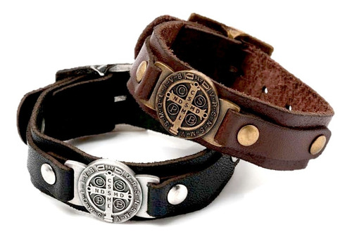 pulseira masculina de couro cruz sagrada são bento bracelete