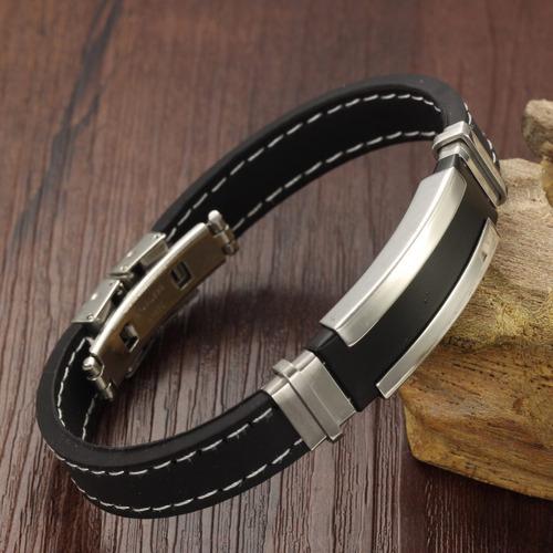 pulseira masculina de silicone legítimo + aço inox moderna