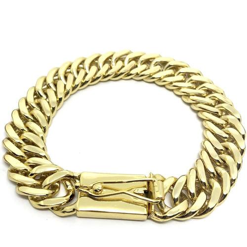 pulseira masculina elos duplos 13mm banhada a ouro 18k