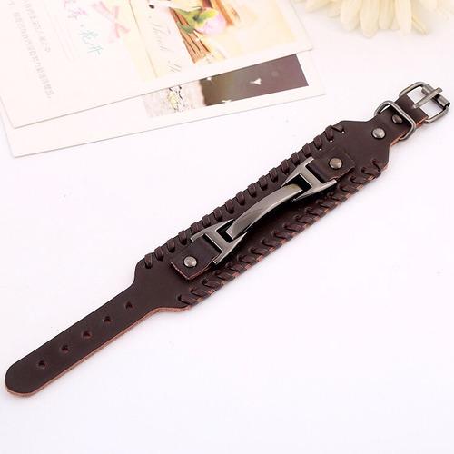 pulseira masculina em couro e aço
