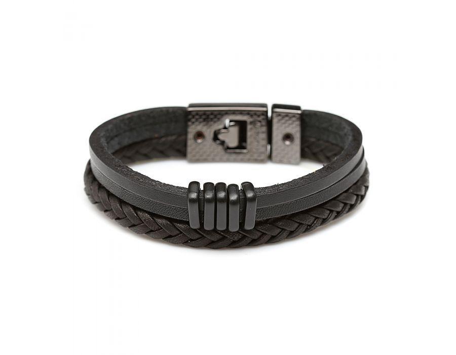 dac14fe02c pulseira masculina em couro trança 2 tiras e metal 01-0104. Carregando zoom.