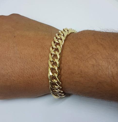 pulseira masculina em ouro 18k 750 grumet duplo 28g com 21cm