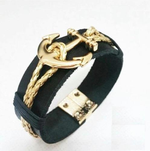 pulseira masculina feminina bracelete couro e dourada