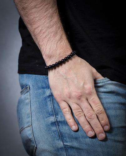 pulseira masculina feminina bracelete pedras j-122 onix