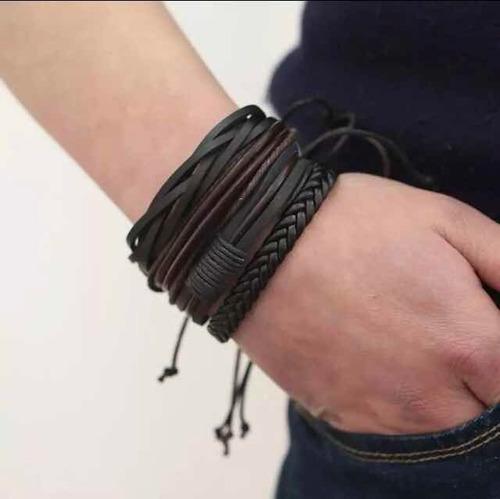 pulseira masculina feminina couro ajustável kit com quatro