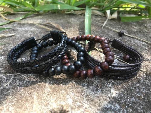 pulseira masculina feminina couro madeira corda kit 4 peças