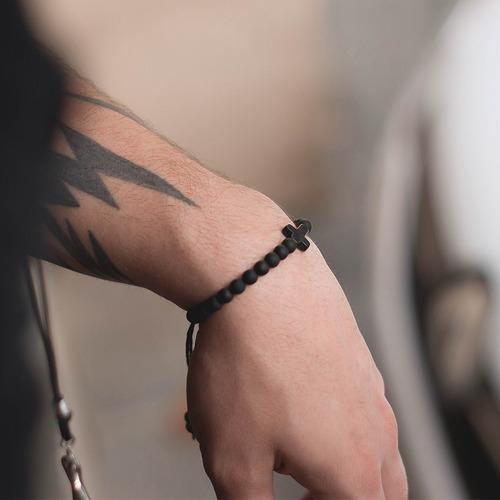 pulseira masculina feminina cruz crucifixo preta ajustavel