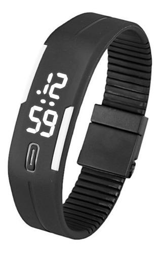 pulseira masculina feminina de borracha led relógio data esp