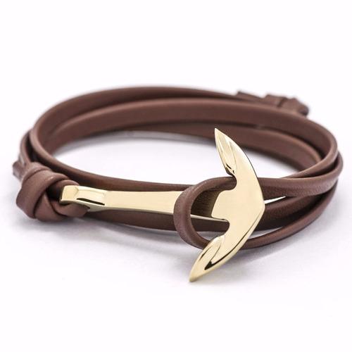 pulseira masculina feminina de couro âncora dourada