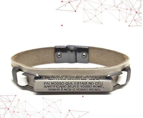 pulseira masculina feminina em couro placa pai nosso mod002