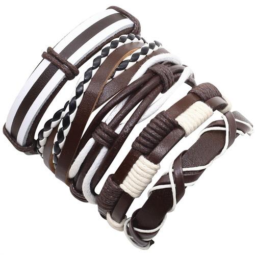 pulseira masculina feminina kit 5 unidades couro legítimo