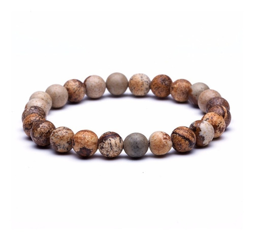 pulseira masculina feminina pedra natural jaspe madeira 8mm