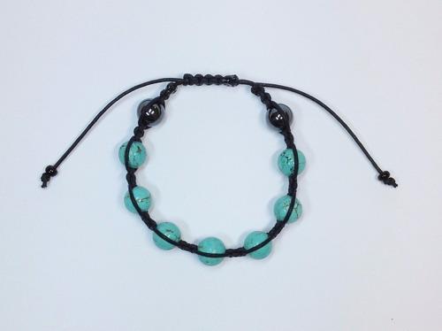 pulseira masculina feminina shambala pedra turquesa hematita