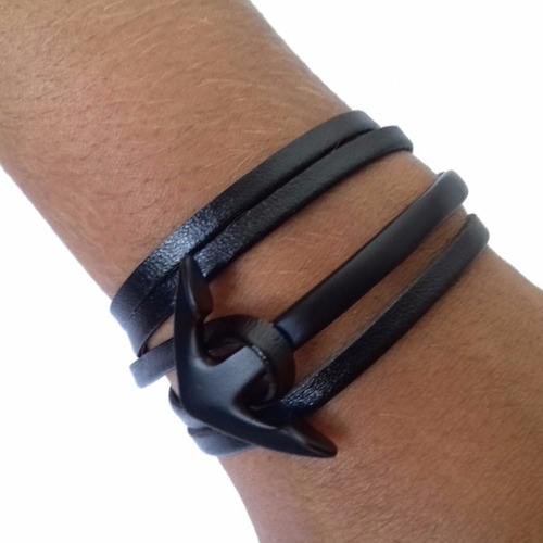 pulseira masculina feminina unissex de couro âncora de metal