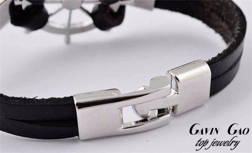 pulseira masculina feninimo leme couro genuíno preta bd1251