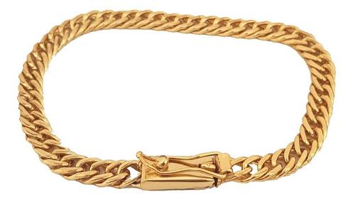 pulseira masculina folheada ouro 18k 7mm grumet fecho gaveta