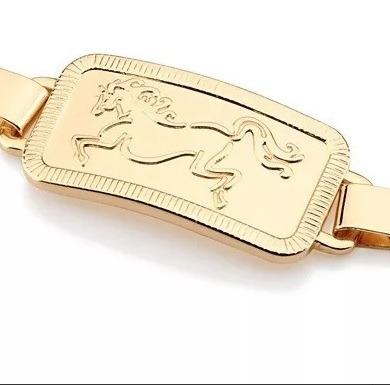 pulseira masculina folheada ouro 18k cavalo moderna estilosa