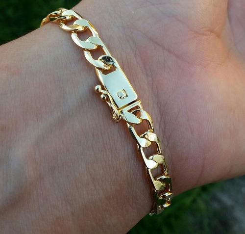 pulseira masculina folheada ouro