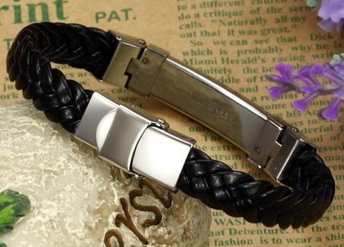 pulseira masculina gold/rose gold rope strip aço inoxidável