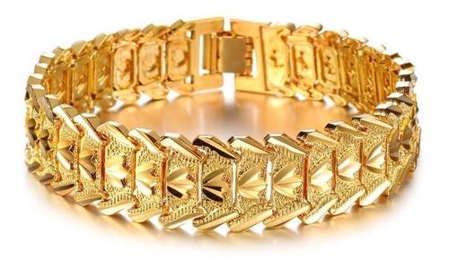 pulseira masculina grossa banhada a ouro