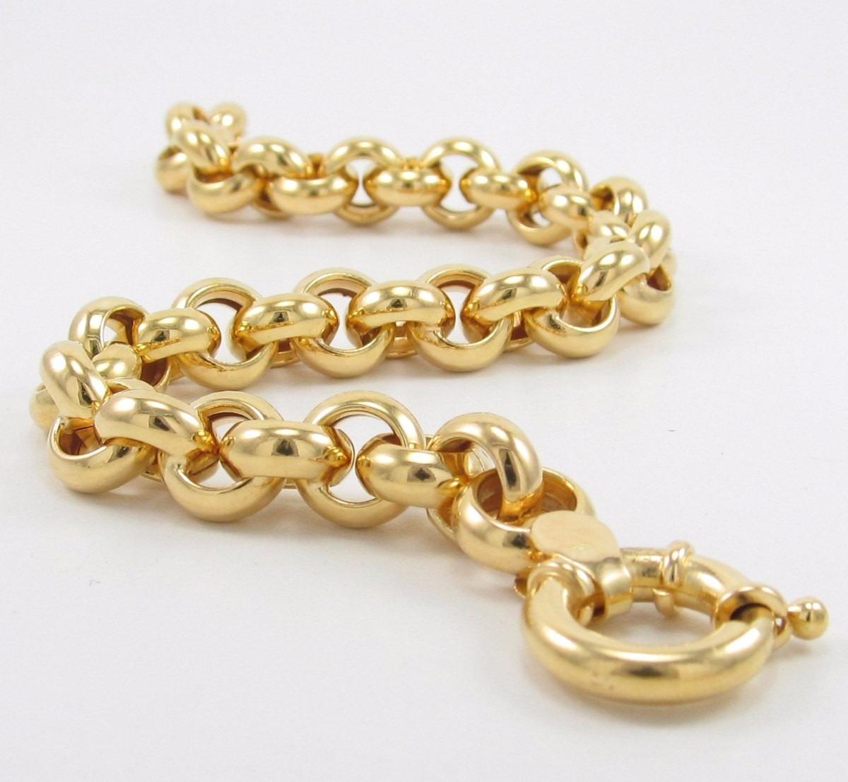 0c1a36d6bfb32 pulseira masculina grossa elo português em ouro 18k-750. Carregando zoom.