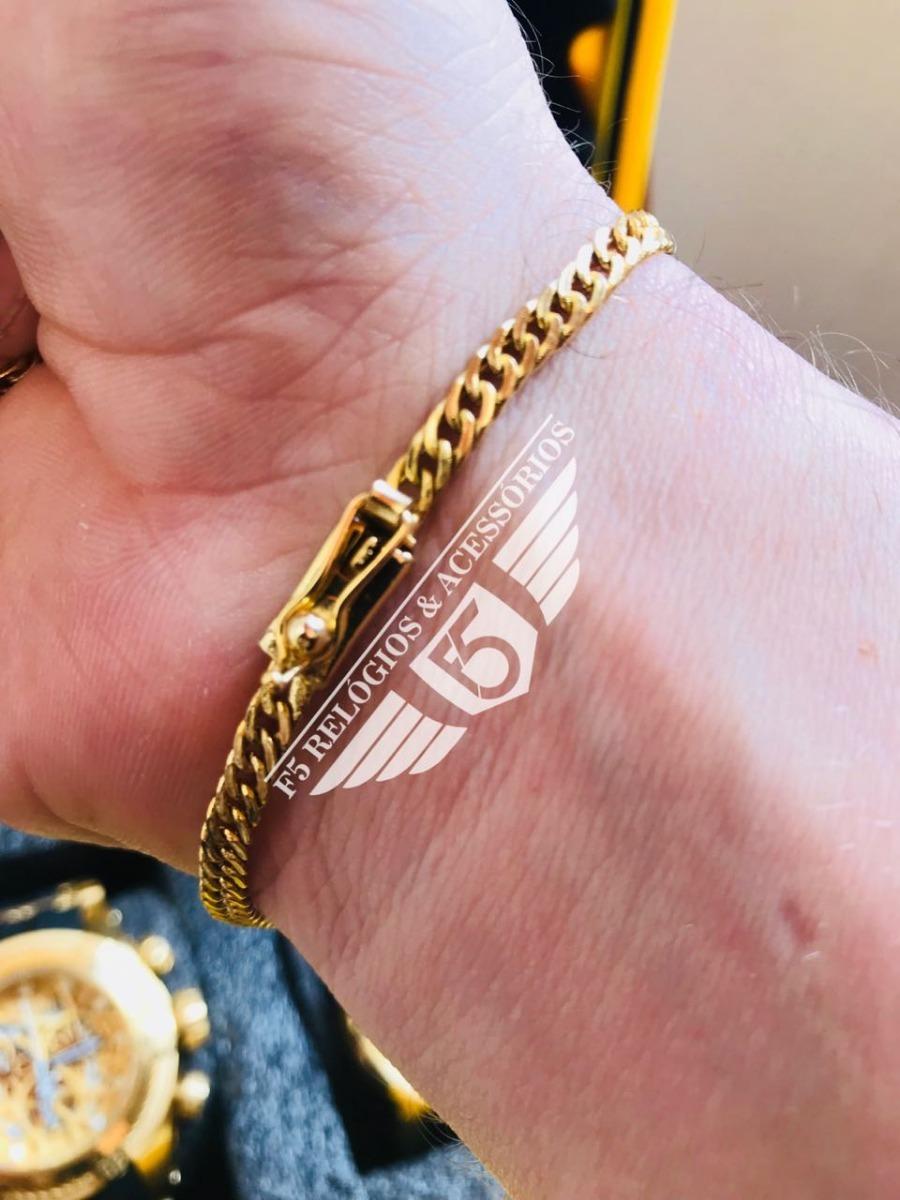 f83be89a0ae89 pulseira masculina groumet banhada a ouro 18k 4mm. Carregando zoom.