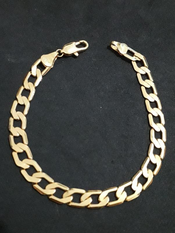 e3eff92e771b4 pulseira masculina groumet longos 7mm folheada ouro 18k nfe. Carregando  zoom.