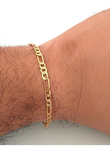 pulseira masculina grumet flat 3mm elo 3 por 1 banhado ouro