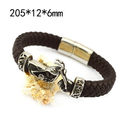 pulseira masculina importada couro corrente moto aço joia
