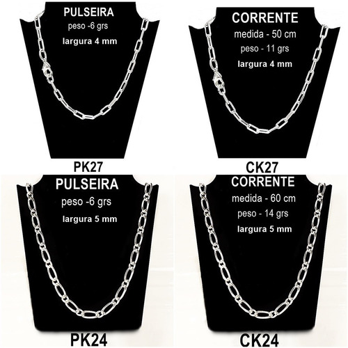 pulseira masculina kit 8 peças de semi joia folheadas prata
