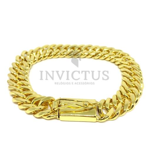 pulseira masculina lacraia 13mm banhada a ouro 18k