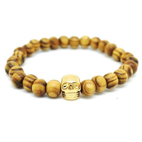 pulseira masculina madeira 8mm caveira banhada a ouro 18k m