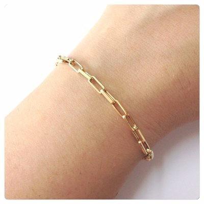 pulseira masculina ouro 18k 750 elo cadeado maciça