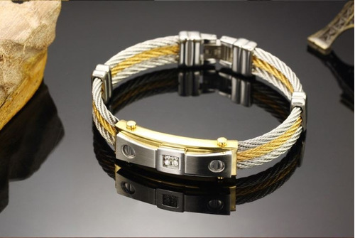 pulseira masculina ouro 18k e aço inox 316l
