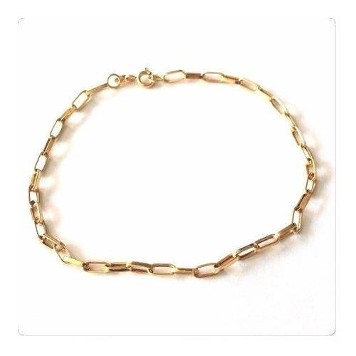 pulseira masculina ouro 18k quadrada grossa