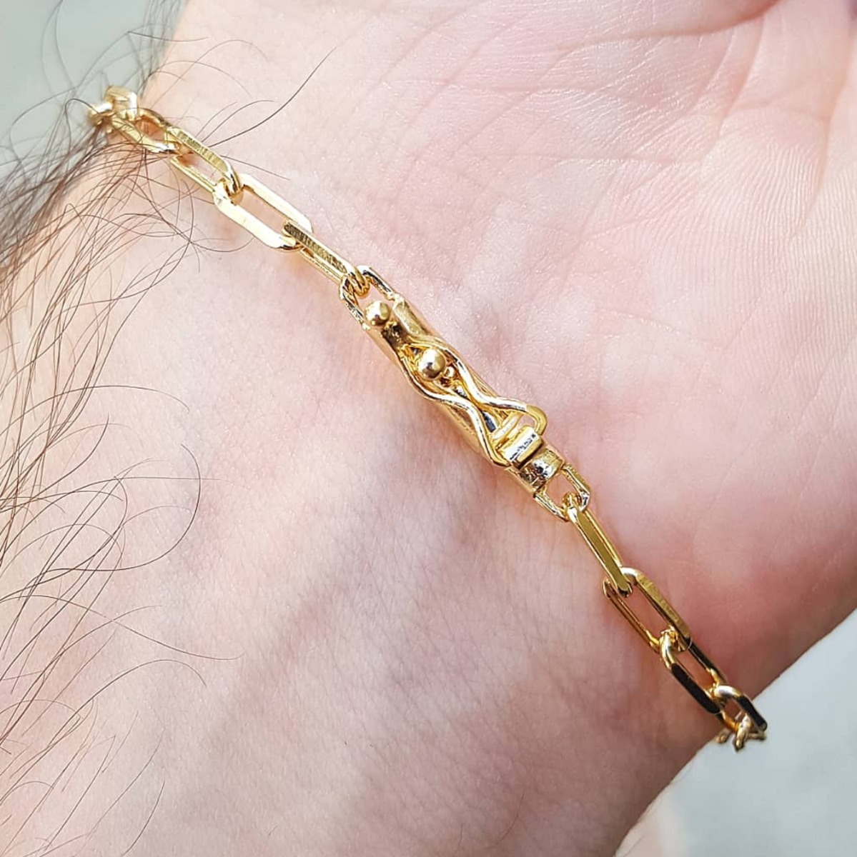 4c3495bbb5f pulseira masculina ouro. Carregando zoom.