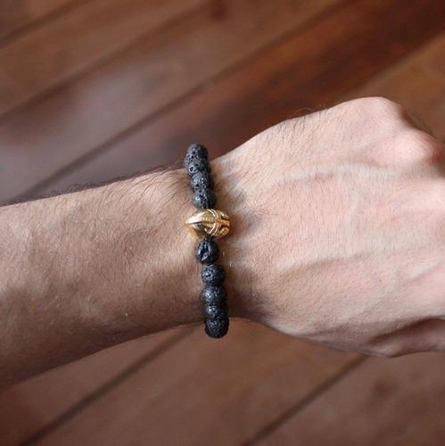 pulseira masculina pedra ágata gladiador banhado ouro 18k p