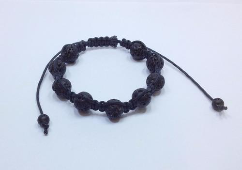 pulseira masculina  pedra lava vulcanica shambala macrame
