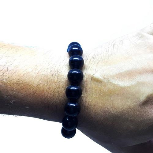 pulseira masculina pedra natural turmalina negra 12 mm 121