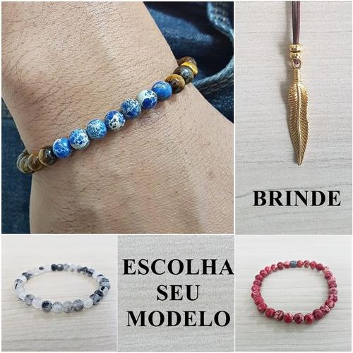 pulseira masculina pedra onix olho tigre lapiz lazuli jaspe