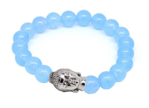 pulseira masculina pedras naturais ágata azul claro
