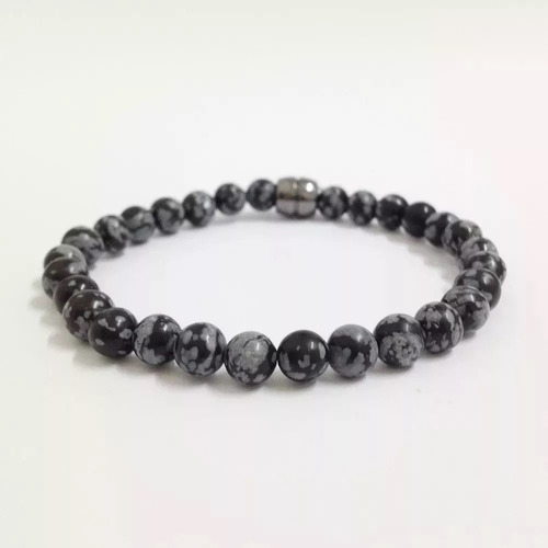 pulseira masculina pedras naturais obsidiana flocos de neve