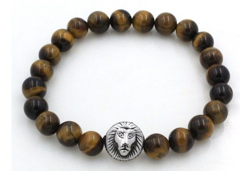 pulseira masculina pedras naturais olho de tigre marrom