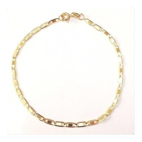 pulseira masculina piastrine maciça 20cm de ouro 18k 750