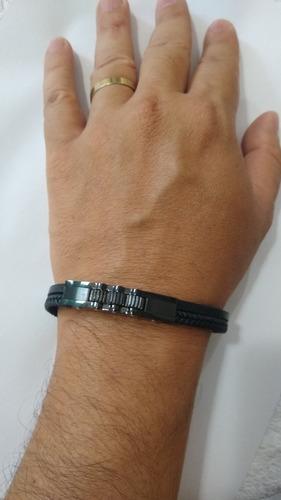 pulseira masculina placa catraca em aço  preto esmaltada