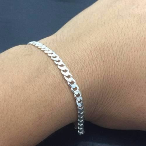pulseira masculina prata italiana maciça 925 grumet 5 mm