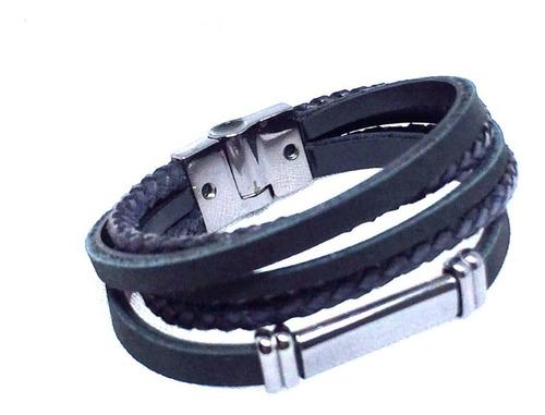 pulseira masculina preta elegante promoção pulseiraria chic