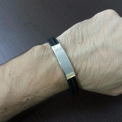 pulseira masculina preta em silicone couro e aço inoxidável