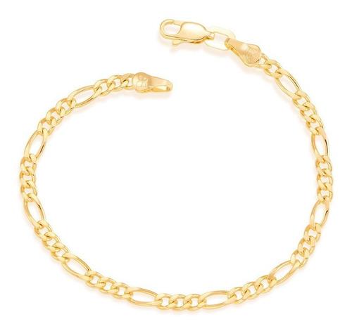 pulseira masculina rommanel 550047 folheada ouro 18k fio 3x1